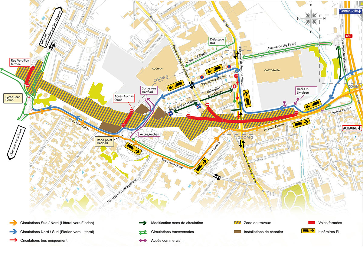 Plan général du chantier Boulevard Urbain Sud