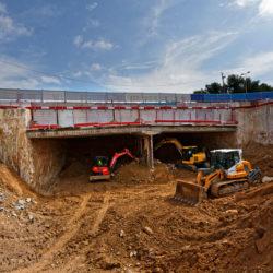 Terrassement en taupe sous la dalle du tunnel, rue Verdillon