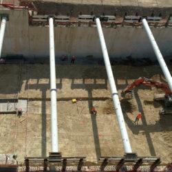 Préparation du voile central de la tranchée couverte sud