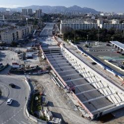 Réalisation de la tranchée couverte entre le rond-point Haddad et la rue Verdillon