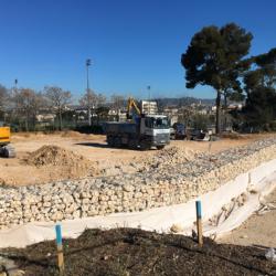 6 - Réalisation de murs de soutènement en gabions bordant le boulodrome de Saint-Tronc